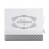 Chic Boutique Wedding Guest Book - White & Silver